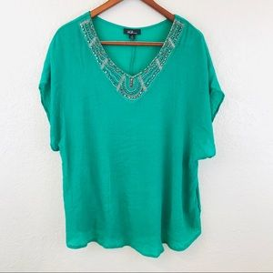 AGB Woman Green Beaded V Neck Top Plus Size